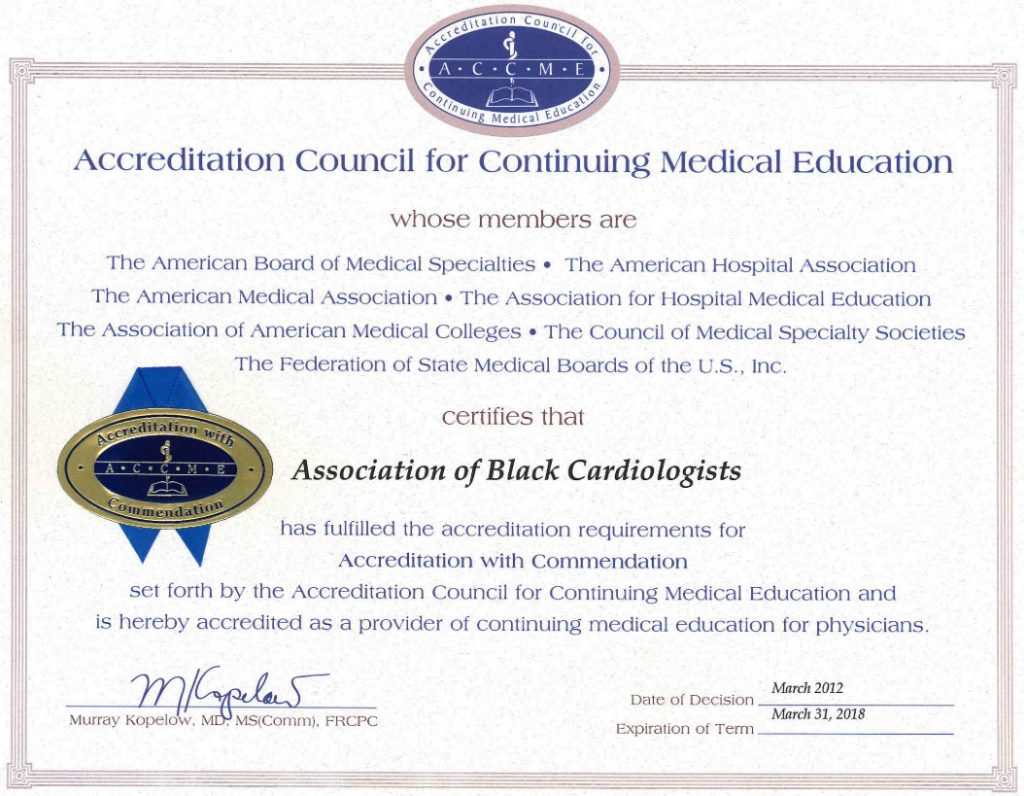 2012-2018 ACCME CME Accreditation Certificate